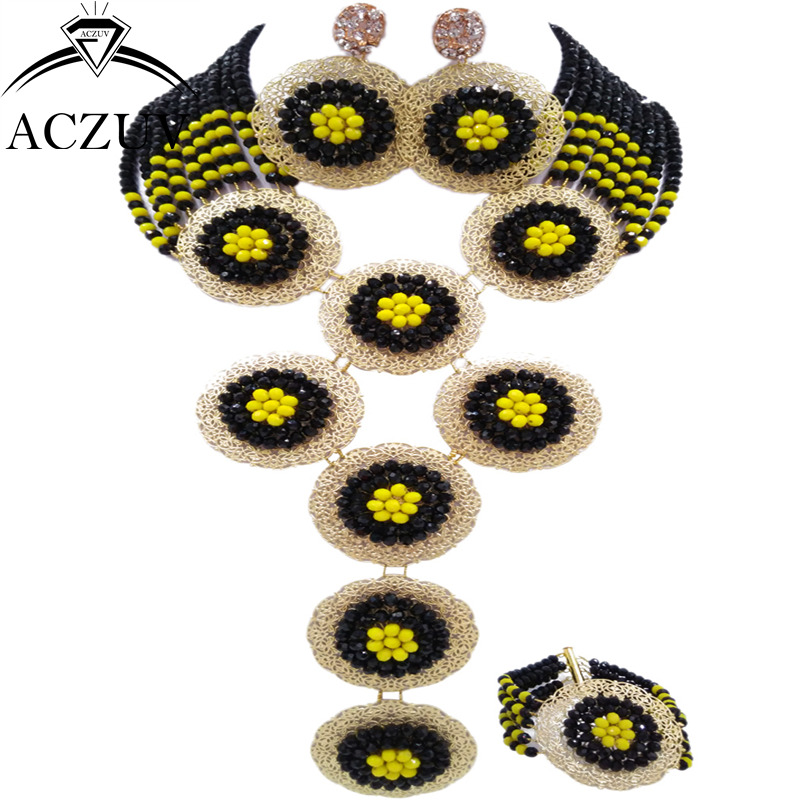 ACZUV Brand Black and Yellow African Jewelry Set Nigerian Wedding Beads A10R002