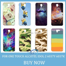 For Alcatel One Touch Idol 2 6037Y 6037k 6037 Case Girl Leopard Skull Cat Fish Lotus Flower Rainbow Hard Cell Phone Case