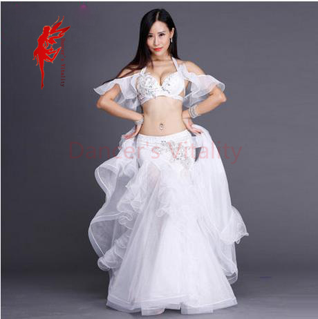 Rhinestones luxury performance belly dance set top and skirt 2pcs ballroom dancer senior set 3D mesh Material belly dance suits