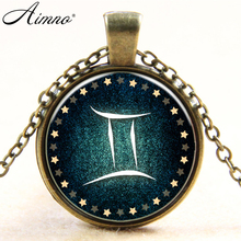 New Gemini Zodiac Aries Zodiac art necklace pendant jewelry statement necklace vintage silver plated chain necklace women B460