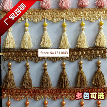 12Yard / Lot 17 Colors Tassel pearl lobbing fringe applique ball curtain accessories lace trim diy decoration fabric(China)
