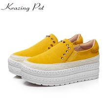 Krazing Pot horsehair classics women platform sneaker increased casual rivets decoration fashion leisure vulcanized shoes L36(China)