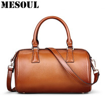 Brand Designer Boston Bag Ladies Genuine Leather Handbag Women Shoulder Bags Fashion Vintage Brown Purses Luxury Tote Bag Bolsas
