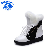 HUANQIU 2017 Zip Shoes Women Boots Solid Slip-On Soft Cute Women Snow Boots Round Toe Flat with Winter Fur Ankle Boots FM27
