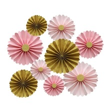 (9pieces/lot) Pink and Gold Paper Rosettes Princess Party Hanging Decoration Wedding Backdrop  Home Hanging Paper Fans