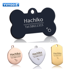 YVYOO Free engraving text Stainless steel Circular dog cat tag Pet collar accessories ID tag name telephone no collar B02(China)