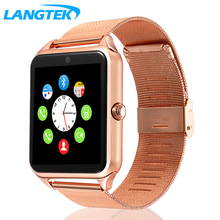 LANGTEK Smart Watch GT08  Men Women Bluetooth Wrist Smartwatch Support SIM/TF Card Wristwatch For Apple Android Phone PK DZ09