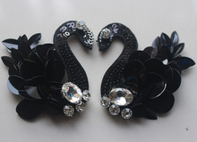2Pair Sequins Beading Black Swan Patches Sewing On Patches birds Badge Garment Craft DIY Apparel Accessories A023(China)