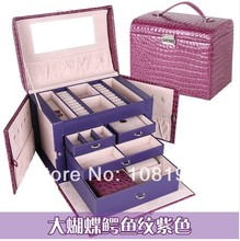 2016 New crocodile pattern multilayer jewelry box cosmetics storage boxes mirror jewelry  Displays  case purple gift box