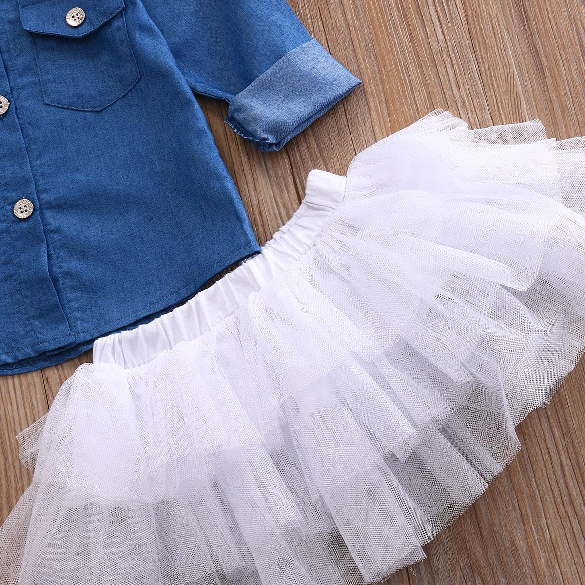 0-5a enfant nouveau enfants bébé filles infantile à manches longues denim tops shirt + tutu jupes dress + bandeau 3 pcs jeans tenues vêtements set 9