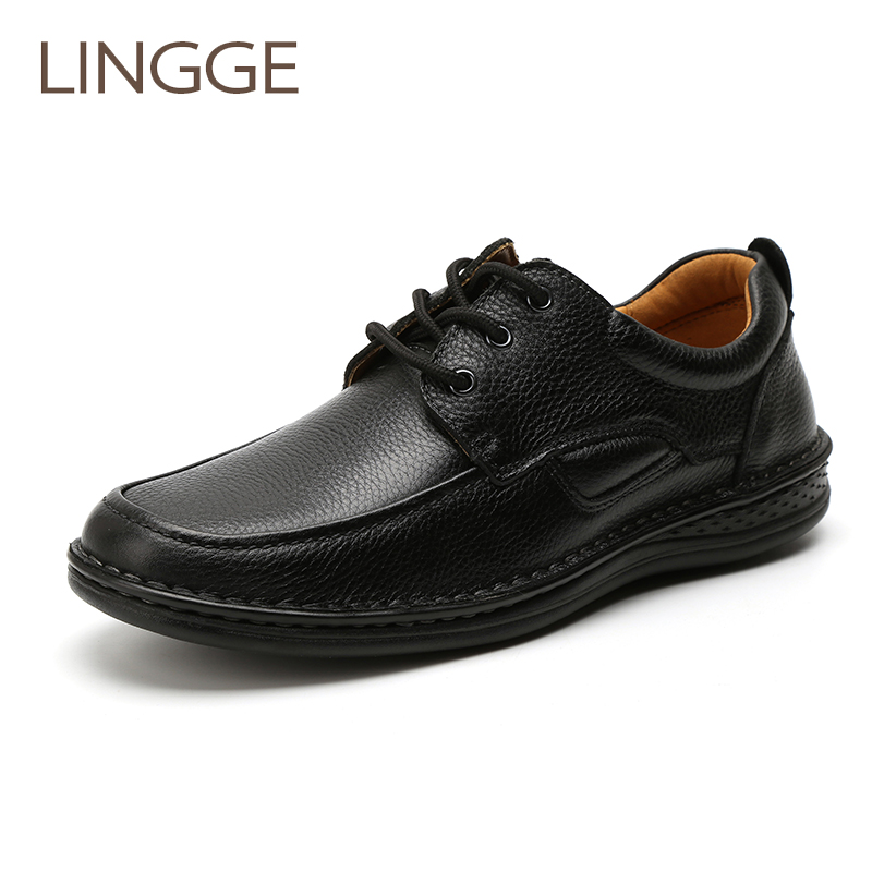 LINGGE Brand Genuine Leather Black Mens Shoes Light Weight Lace-Up Business Shoe Comfortable Shoe For Men<br>