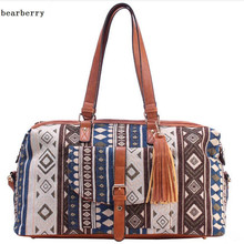 BEARBERRY 2017 high quality  style printed flowers travel bags large size beach bags leather tassel holiday bags 4 colors MN436