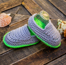 Sky blue and parakeet green baby boy hand crocheted booties, crocheted baby snickers, crochet baby shoes