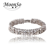 Moonso  Real 100% 925 Silver Bracelet & bangles for  Women 2015 new Circular CZ diamond Snowflakes bracelet  LS808