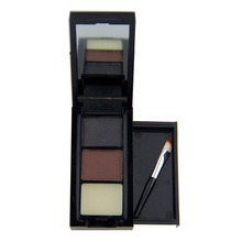 3 Color Hot Sale Professional Eye Shadow Eye Brow Makeup  Eyebrow Powder + Eyebrow Wax Palette + Brush