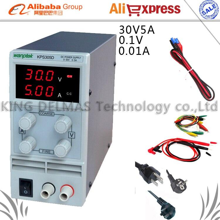 Mini Adjustable Digital DC power supply ,0~30V 0~5A ,110V-220V Switching Power supply 0.1V/0.01A FOr US/EU/AU Plug<br>