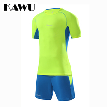 KAWU Custom Made DIY football jerseys Set Men soccer tracksuit T Shirt + shorts Short Sleeve Sportwear maillot de foot S17021