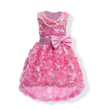 Girls summer  Mei red Rose princess dress Baby flower girl dresses soft Party Dresses Birthday Dress infant swallow-tailed coat