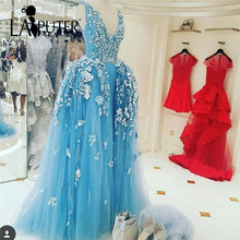 2017 Romantic Tulle Sky Blue Flowers Lace Applique Evening Dress Floor Length Removable Skit Saudi Arabia Prom Party Dresses