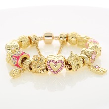 Pink Enamel Heart Beads Crystal Pave Love Rose Flower Beads Golden Snake Chain Bracelets Lover Valentine's Day Gifts(China)