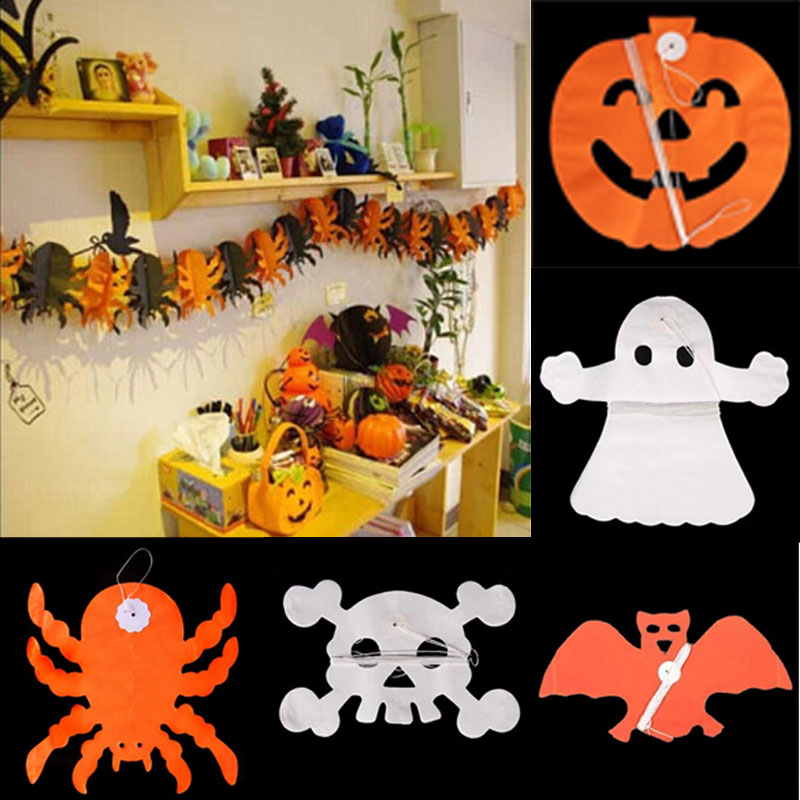 Practical Jokes toy 5PCS Paper Chain Garland Decorations Pumpkin Bat Ghost Spider Skull Shape Halloween Decor Garland YH-17(China (Mainland))