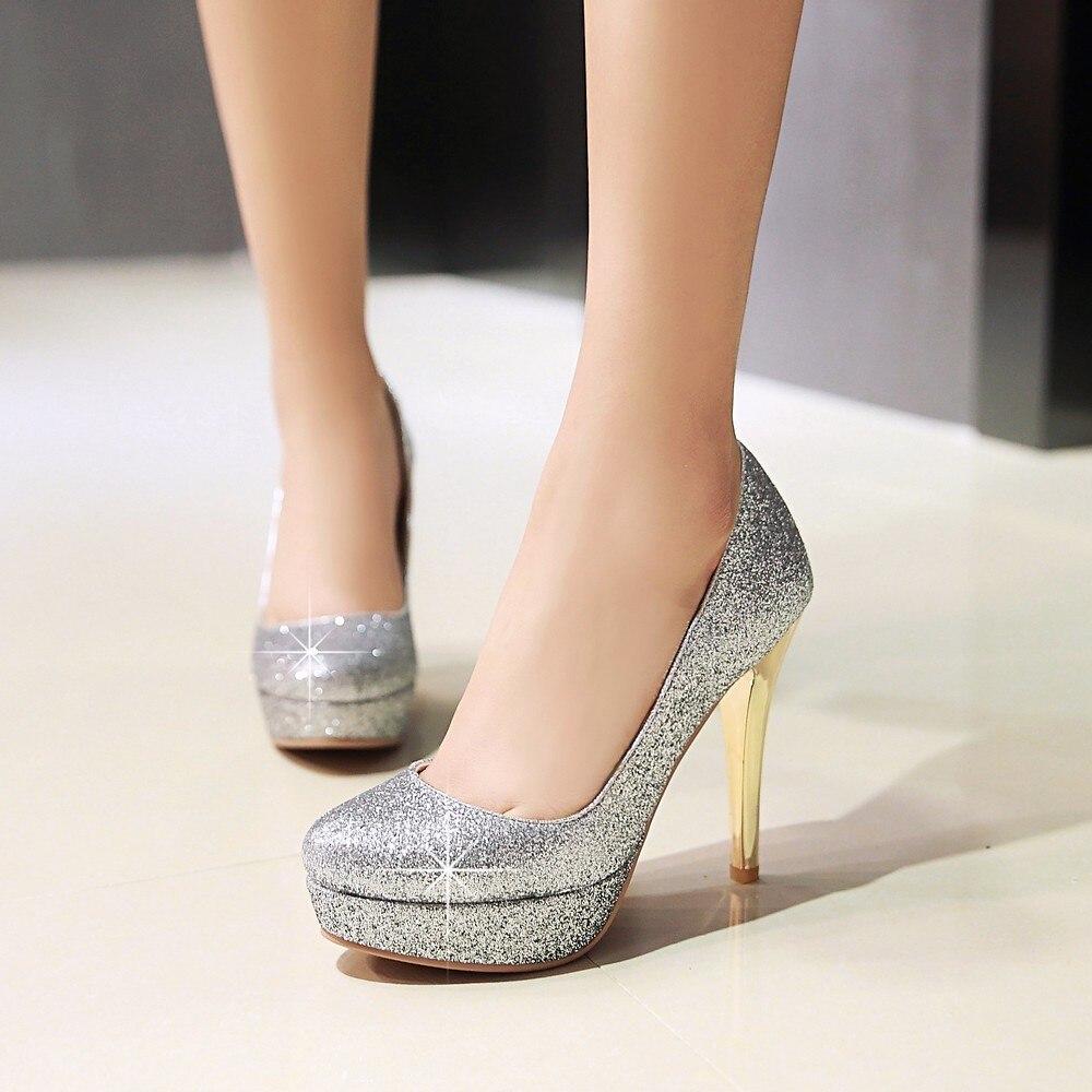 Women shoes pumps super high heels fashion spring summer 2017 autumn bling platform gold sliver wedding shoes bridal big size 43<br>