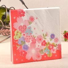 1pack FOOD GRADE Abstract pattern Napkin Paper 100% Virgin Wood red flower Tissue for Party Decoration Paper Crafts