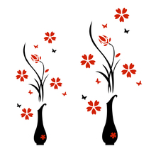 Acrylic Wall Sticker 3D Plum Flower Vase Wall Stickers Home Decoration Wall Decal Red Floral DIY Poster Stickers(China)