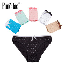 Buy FUNCILAC Seamless Panties Women Underwear Cotton Woman Briefs Sexy Dot Printed Underpants Knickers Ladies Lingerie 5pcs/lot