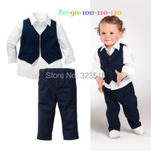 Baby Kids Boys Shirt Tops+Pants+Waistcoat Gentleman 3 PC Suit Set Formal Clothes  dropshipping