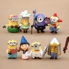 8pcs/lot Cute cartoon Despicable Me Minions PVC/resin Figurine Craft Home desk Ornament table Decoration Decor for kids gift