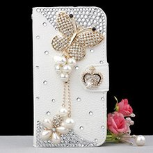 Bling Handmade Glitter Rhinestone Pearl Leather Flip Wallet Protective Case for Iphone & SamsungS3 S4 S5 S6 E PLUS S7 S7E N3 4 5