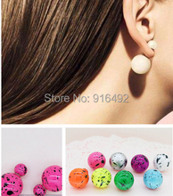 10 Pairs/Lot Fashion Jewelry Earrings Hot Selling 2014 Round Double Pearl Stud Earrings Big Pearl earrings for Women