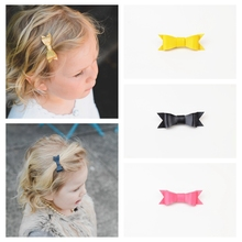 5pcs/lot Boutique Baby Girl Hairbow Hairpins Fashion Leather Bow Hair Clips For Kids Best Gift For Children Turban Headwrap A139