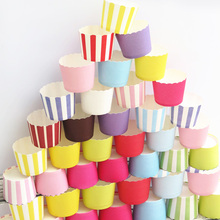 50pcs Pure Rose Pink Yellow Blue Green Purple White Stripe cupcake paper cake baking cup wedding birthday party favors