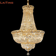 LAITING Dia 60cm French Gold Lighting Chandelier Top Clear Crystal for Restaurants Classic Living Room Chandelier LT-71023(China)