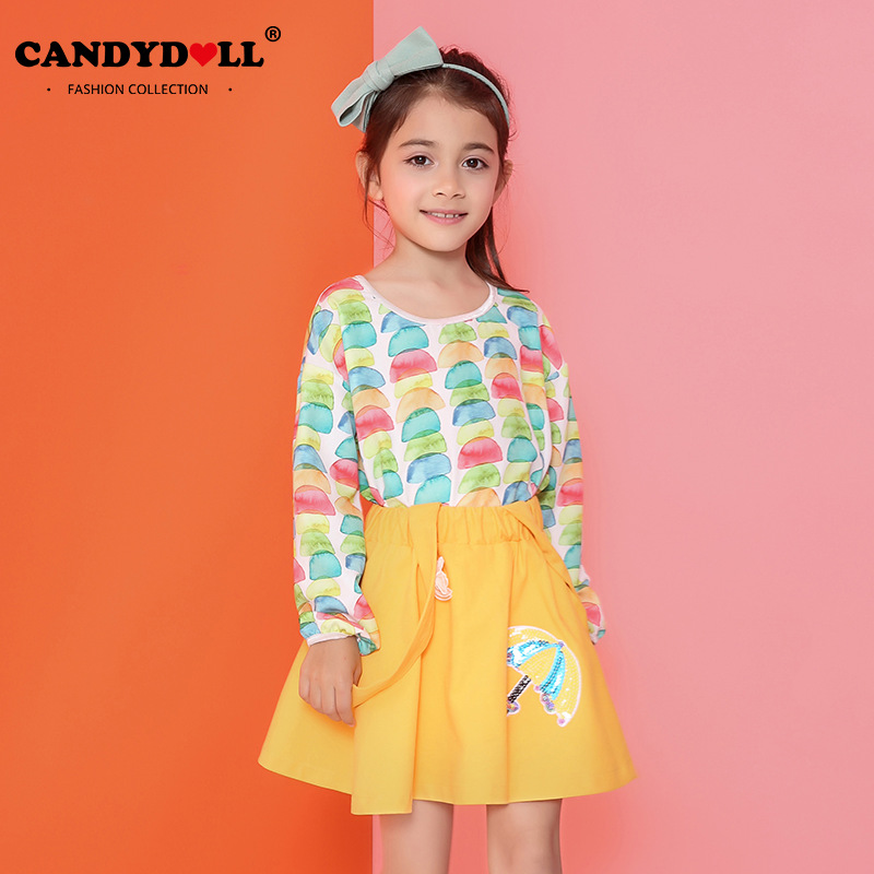 Candidoll 2017 spring new girls T - shirt cotton long - sleeved casual children s wear white printed T - shirt<br>