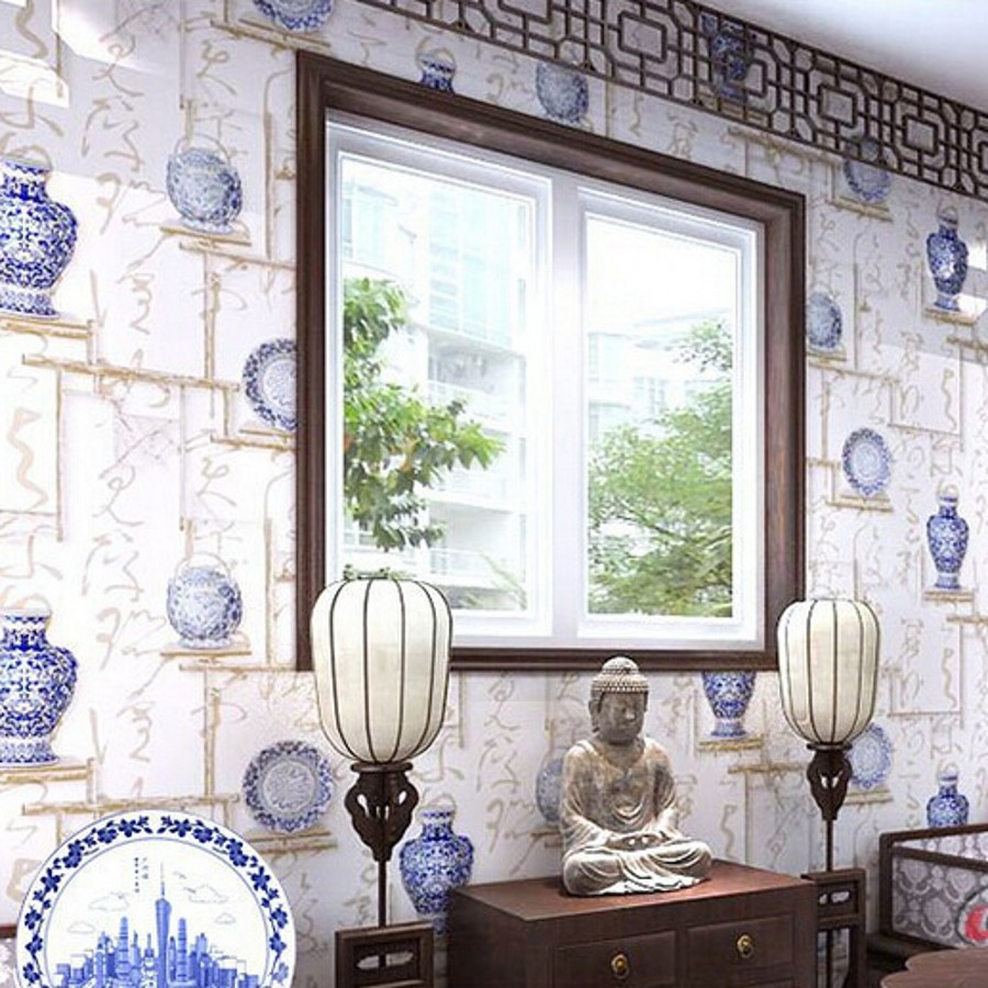 Chinese blue white retro hotel restaurant project three-dimensional backdrop ceiling Wallpaper Direct wallpapers roll wall paper<br><br>Aliexpress
