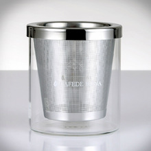 High-quality stainless steel mesh coffee filter 280ml glass coffee cup manual coffee powder filter tool