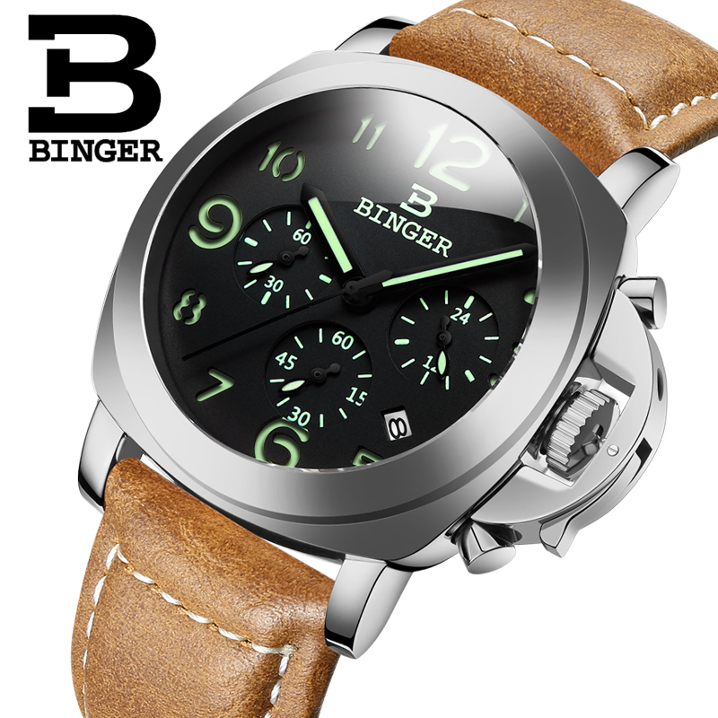 Genuine Switzerland BINGER Brand Men leather strap luminous waterproof sports calendar military watch large dial Chronograph<br>