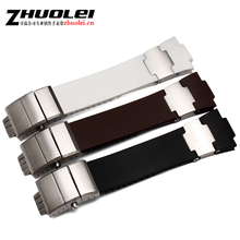 High quality 25*12mm Black brown white Rubber Watchnand soft Strap Bracelet butterfly Waterproof Buckle for men's brand band(China)
