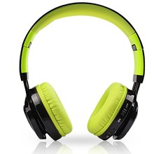 2017 New Bluetooth Headphone Noise Canceling Stereo With LED Light Foldable Head-mounted Microphone TF Card Green AB005(China)
