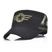 Army green caps flat top style star Embroidery Design Cotton Baseball sun hats adjustable black camouflage Buckle Back