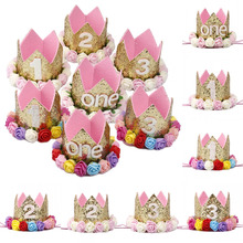 Happy First Birthday Party Hats Decor Cap One Birthday Hat Princess Crown 1st 2nd 3rd Year Old Number Baby Kids Hair Accessory(China)