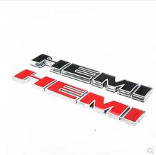 YAQUICKA  3D Metal Auto Car HEMI Hood Rear Fender Trunk Emblem Badge Sticker for Challenger Charger Chrvy Black or Red