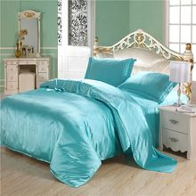 Luxury Turquoise Quilt Silk Comforter Set Duvet Cover 4PC Plus Size Solid Blue Silk Sets Twin/Full/Queen/King Fitted/Flat Sheet(China)