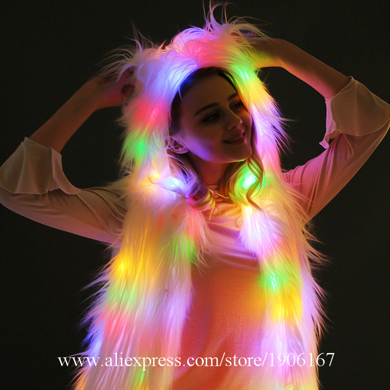 LED Vest Glowing Hooded Fur Vest Night Club Dance Performance Glowing Clothes Music Festival Clothing0
