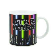 Free shippping Star Wars Lightsaber Heat Reveal Mug color change coffee cup sensitive Ceramic Mug friend Birthday Gift(China)