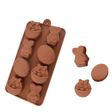 Silicone mold DIY chocolate mold eggs Easter Bunny ice cube basket die shape cake mold PS019