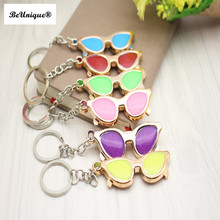 Colorful Sunglasses keys pendant keychain Mini chaveiro Bag charms keyring advertising gifts Kids DIY jewelry accessories(China)
